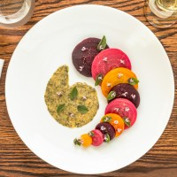 Roasted Beets Salad with African Blue Basil Vinaigrette