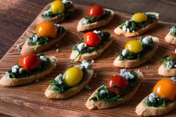 sauteed-arugula-and-heirloom-cherry-tomato-bruschetta-with-blue-cheese-crumbles-1970-2