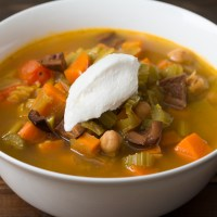 Moroccan-style Carrot, Celery, and Leek Stew with Chick Peas, Kalamata Olives, and Dried Lemon