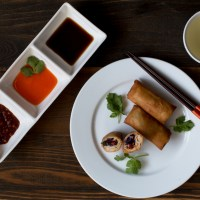 Vegetarian Spring Rolls (Lumpia) with Sweet & Sour Dipping Sauce