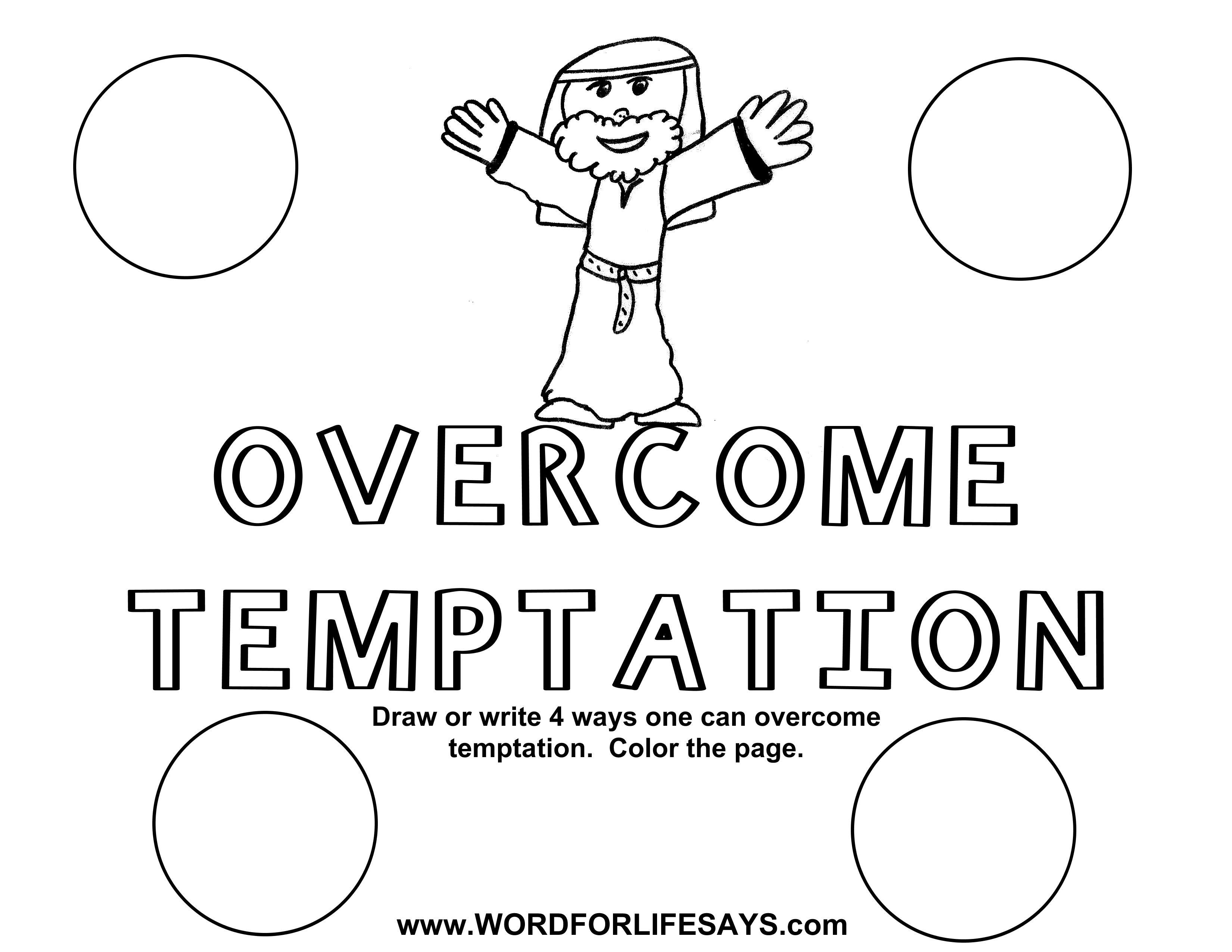 Resist Temptation Coloring Page Sketch Coloring Page