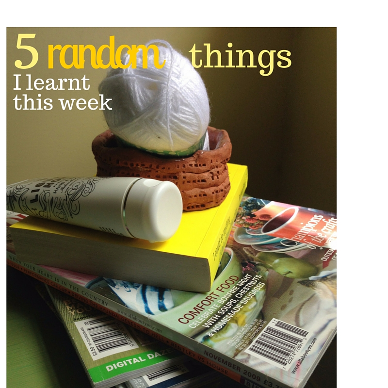 Random things: ball of wool, clay pot, hand cream, magazines