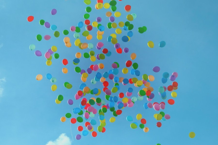 Coloured balloons in the sky
