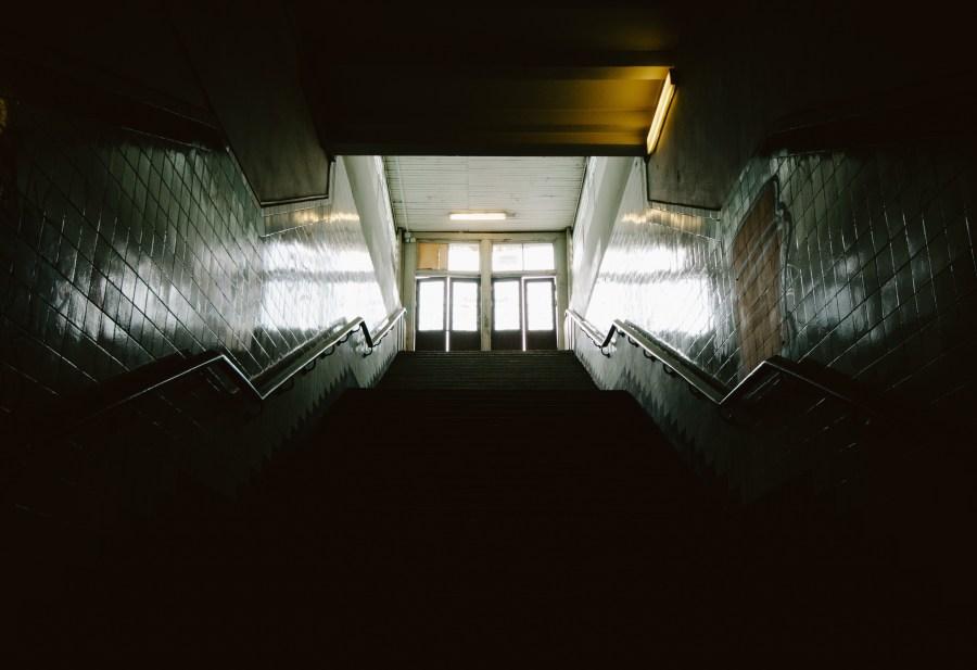 School steps looking up