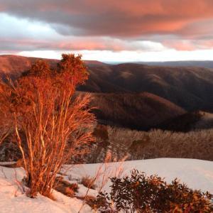 Sunset on closing day 2015 ski season