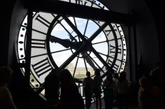 Old train clock inside the Musée d'Orsay.
