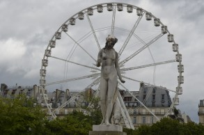 One of my favorite photos-a statue in the the Tuileries Gardens framed by the ferris wheel by the Louvre.