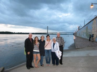 My family visiting for my Masters graduation. This picture is taken on the river front, which has been featured in many of the previews for Gone Girl. I found it first, Fincher!