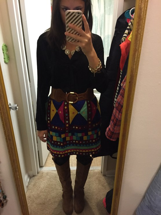 Fall essential items: nothing, but I love this skirt Rahul's aunt gave me!
