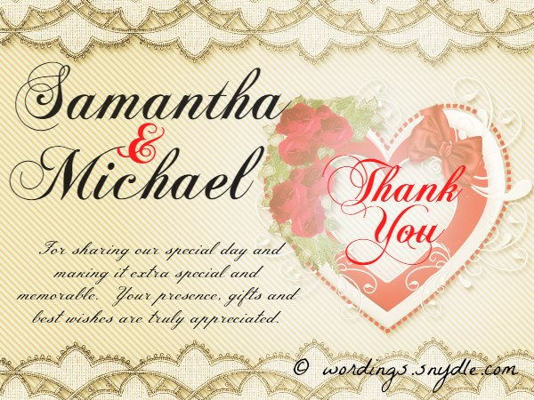 Wedding Thank You Notes - Wordings and Messages