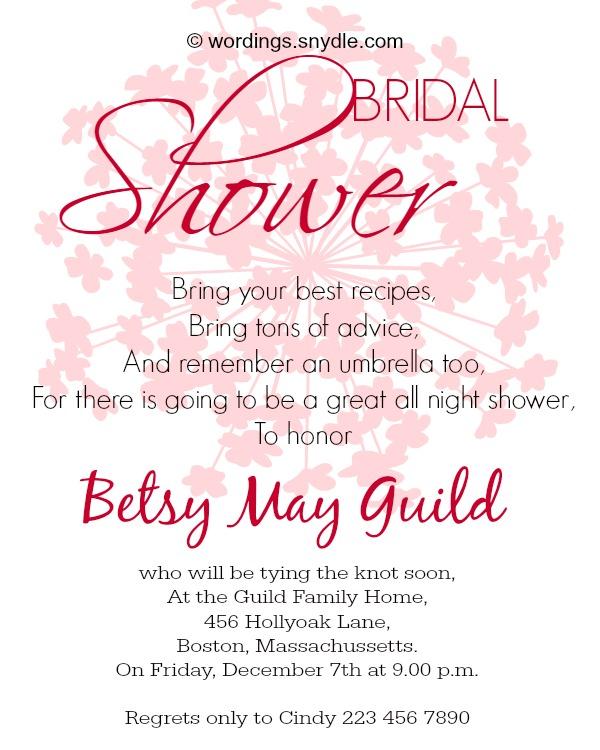 Bridal Shower Invitation Wording Sle