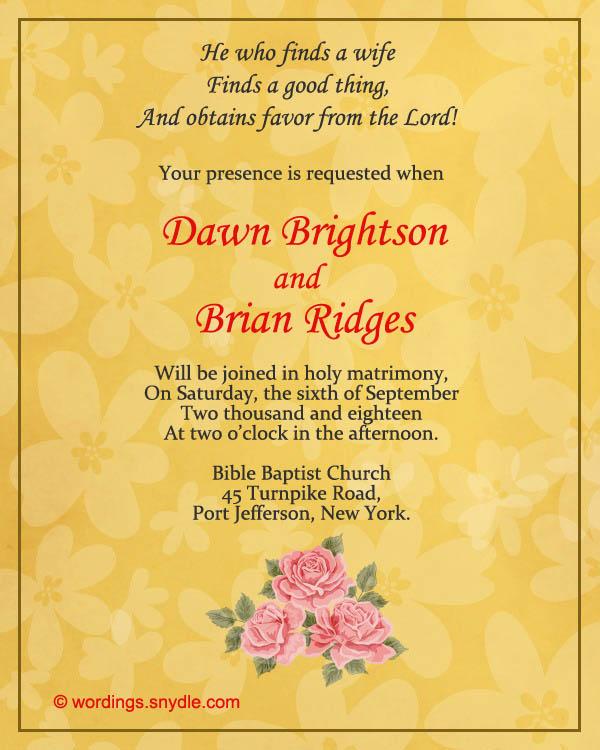 christian wedding invitation wording