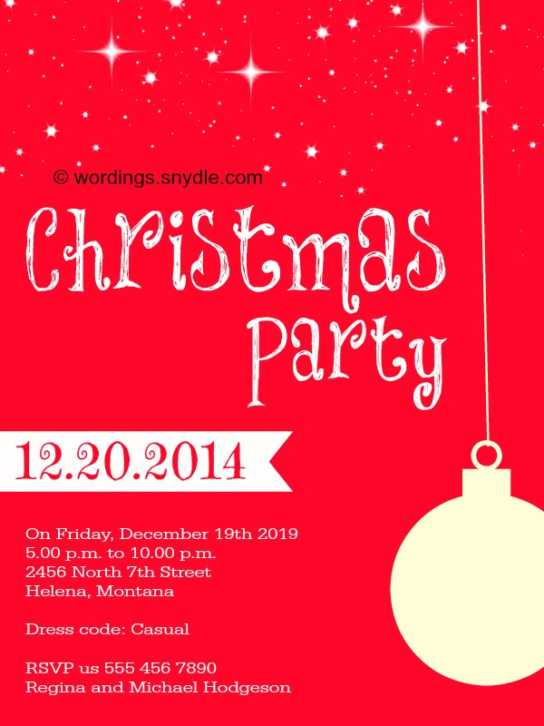 christmas party invitations wording