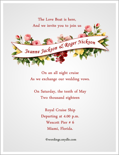 Destination Wedding Invitation Wordings Sample Cards