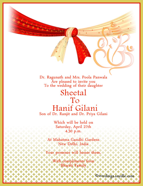 Wedding Hindu Invitation Wordings