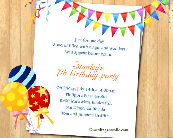 7th birthday party invitation wording