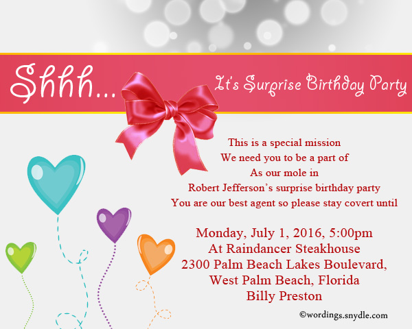 Invitation Wording For Surprise 50th Birthday Party Wedding