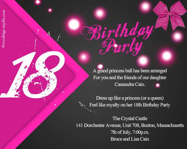 Cozy 18th Birthday Party Invitation Wording Wordings And Messages