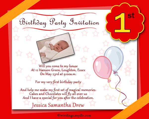 birthday invitation card for 1st