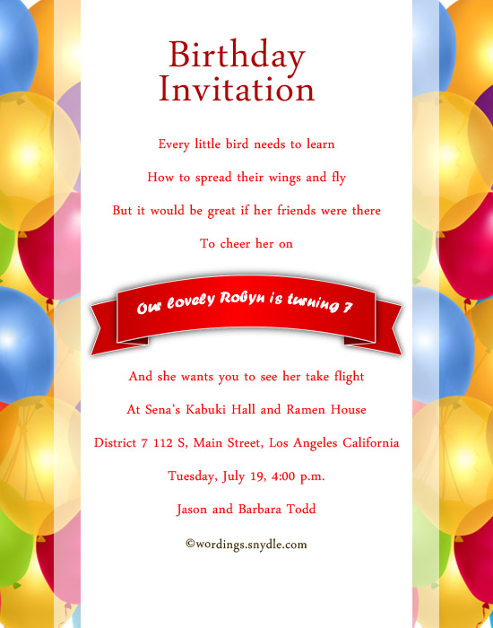 Sample invitation card for 7th birthday boy invitationjpg 7th birthday party invitation wording wordingessages stopboris Gallery