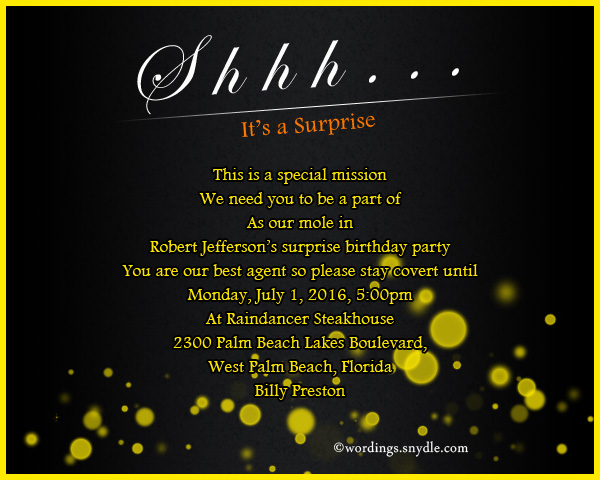 Surprise Birthday Party Invitation Wording Wordings And