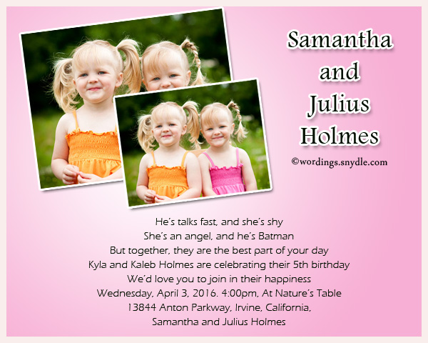 twin birthday party invitation wording