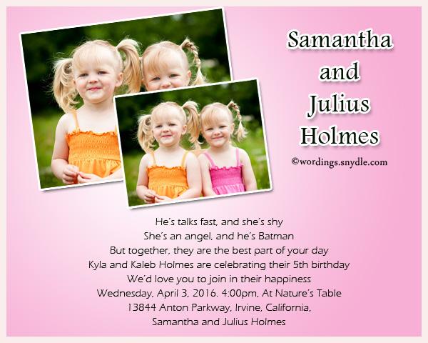 twin birthday party invitation wording