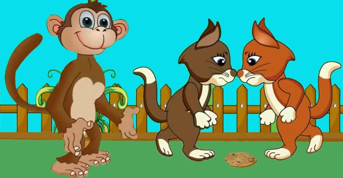 Two Cats and a Monkey Animal Story for kids