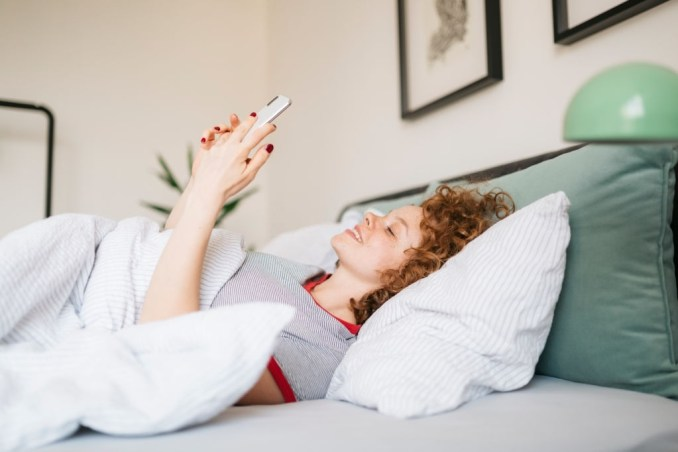 Smiling Lady Texting