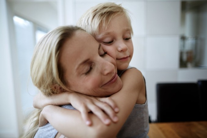 Mom and Son in a Tight Embrace