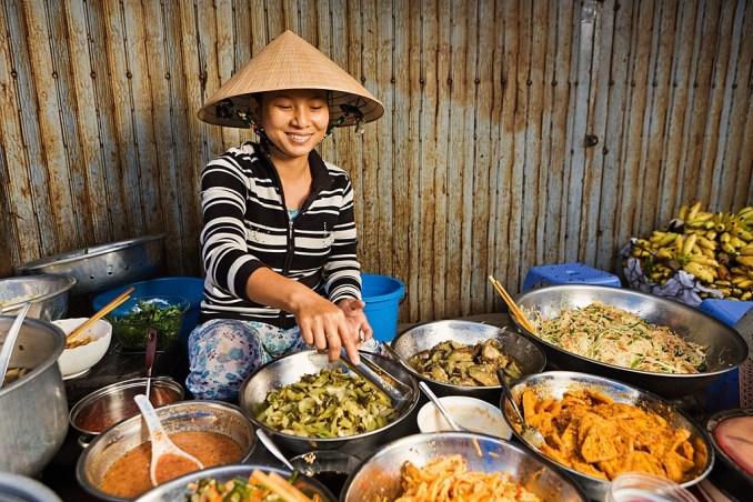 Vietnamese Girl Selling Food