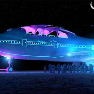 Converted Jumbo Jet lands at Burning Man