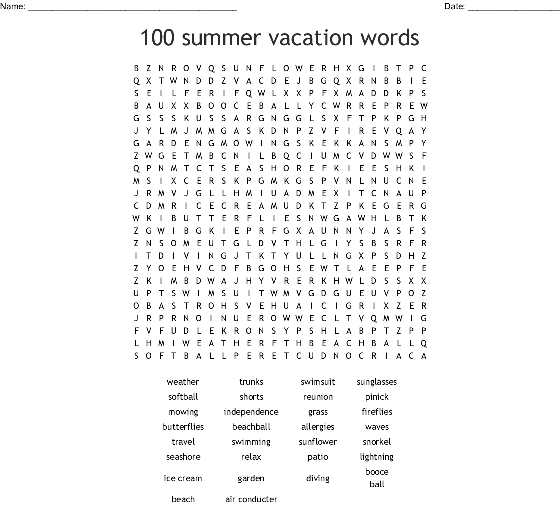 100 Summer Vacation Words Word Search