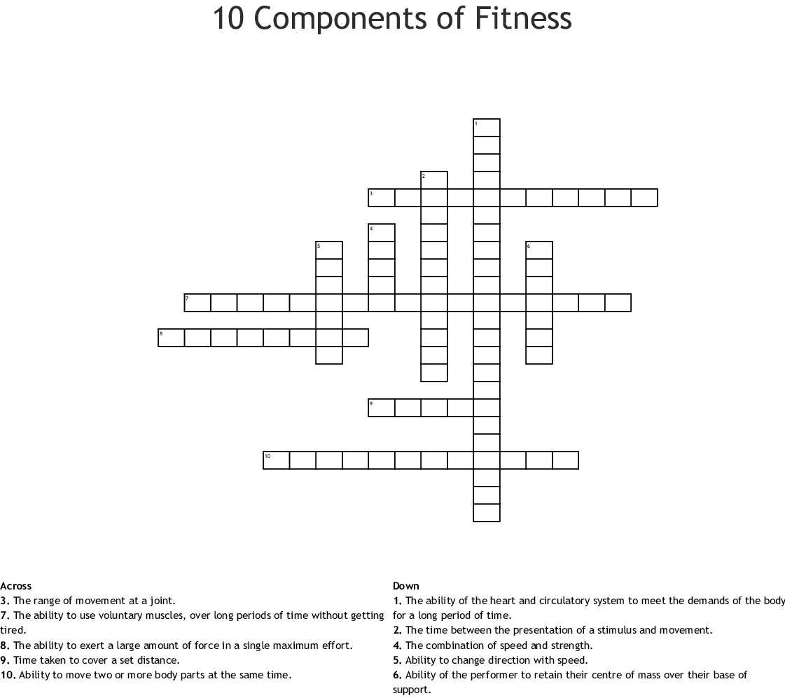 Fitness Crosswords Word Searches Bingo Cards