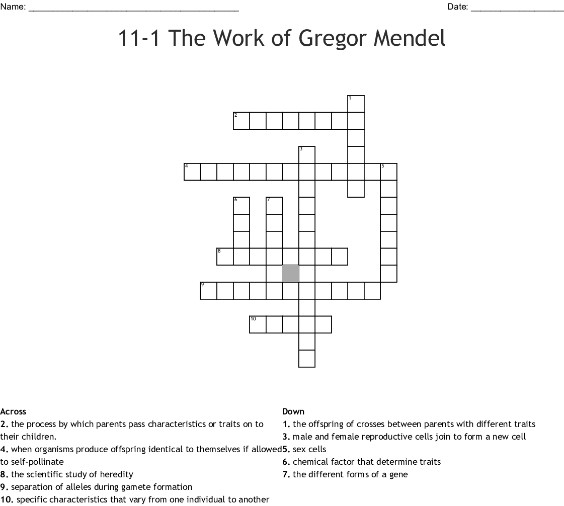 11 1 The Work Of Gregor Mendel Crossword