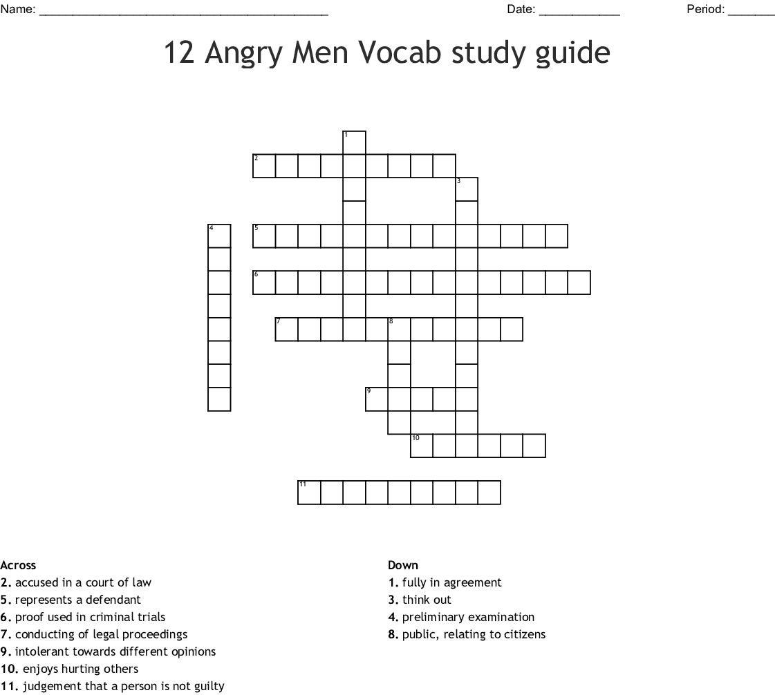 12 Angry Men Vocab Study Guide Crossword