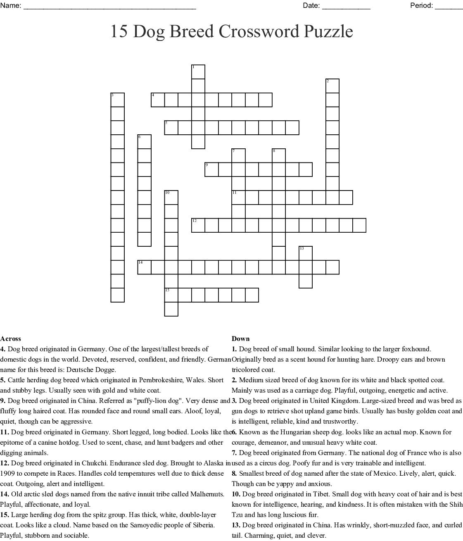 15 Dog Breed Crossword Puzzle