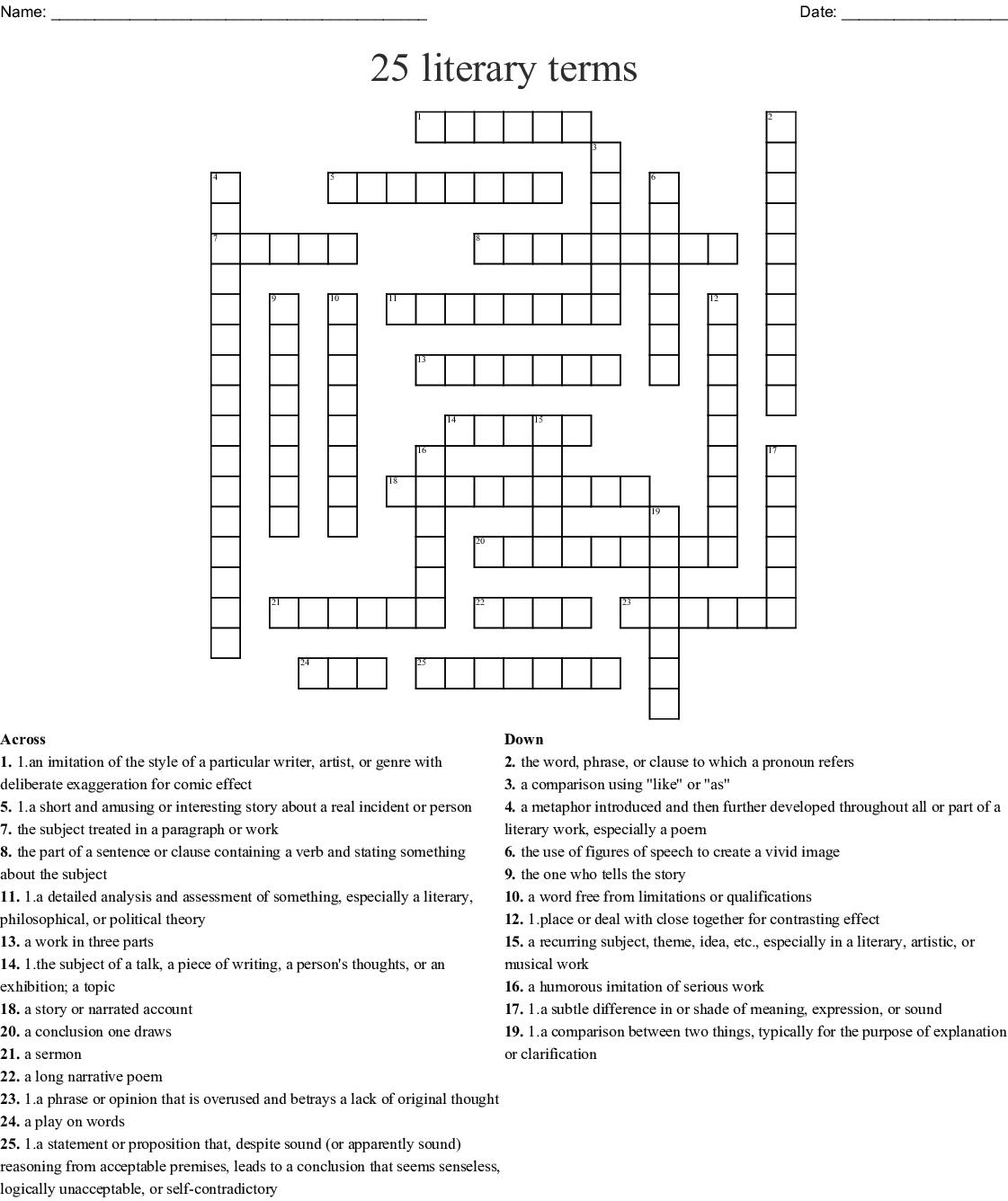 25 Literary Terms Crossword
