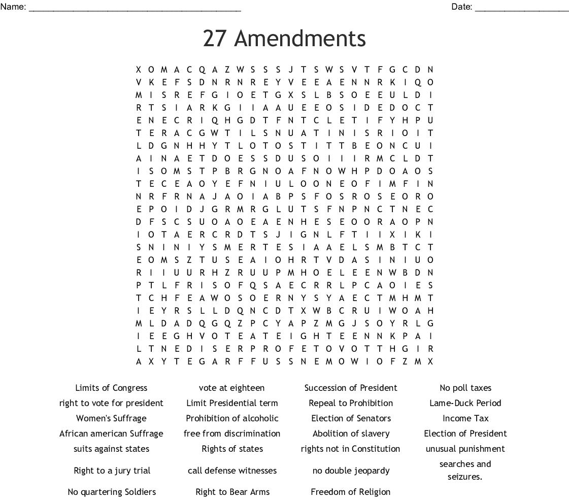 Us Constitution Word Search