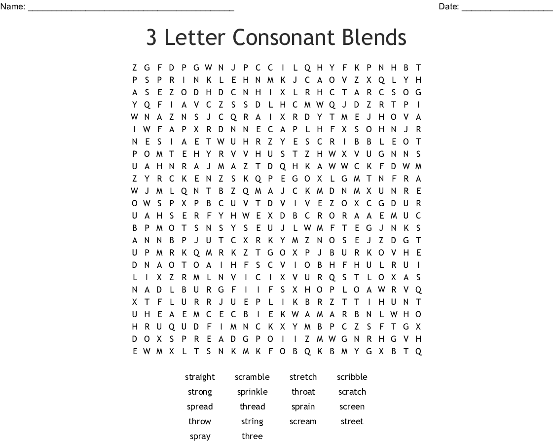 3 Letter Consonant Blends Word Search