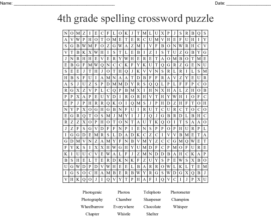 4th Grade Spelling Crossword Puzzle Word Search
