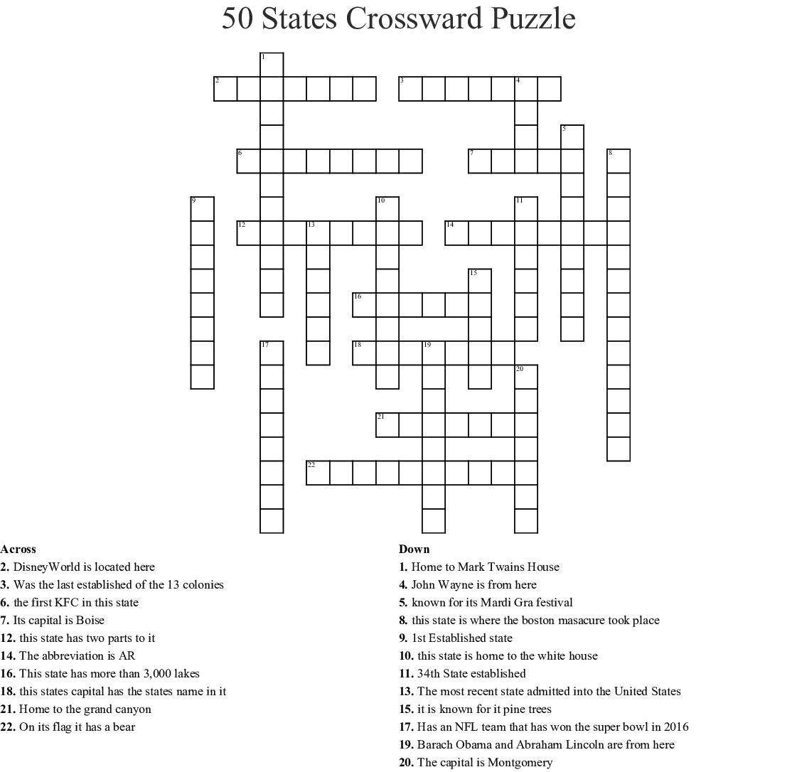 Educationcom Usa States Crossword Answers