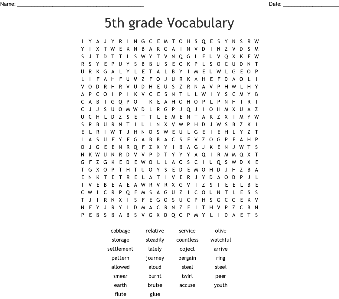 5th Grade Vocabulary Word Search