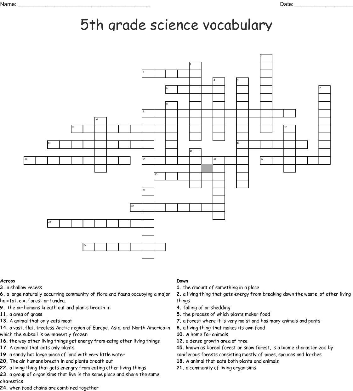 5th Grade Science Vocabulary Crossword