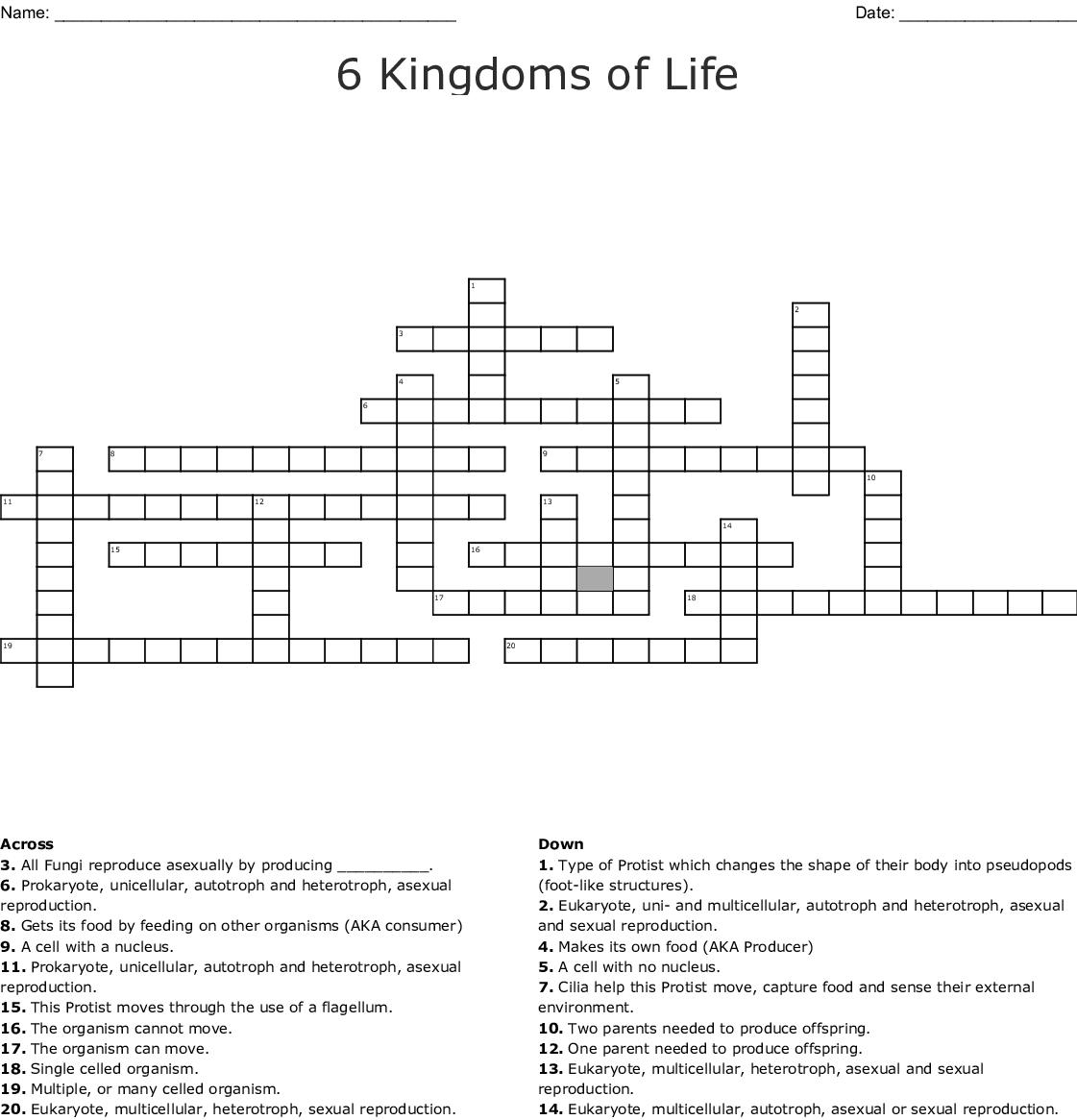6 Kingdoms Of Life Crossword