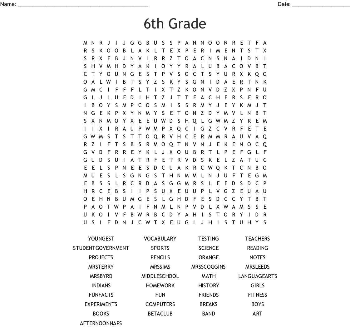 6th Grade Word Search