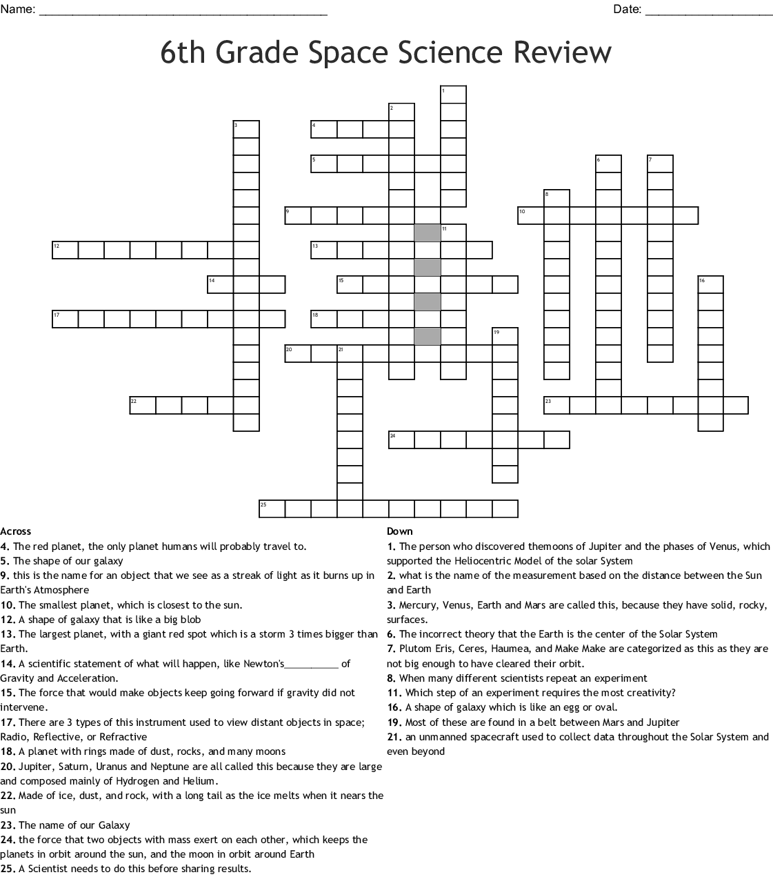 6th Grade Space Science Review Crossword