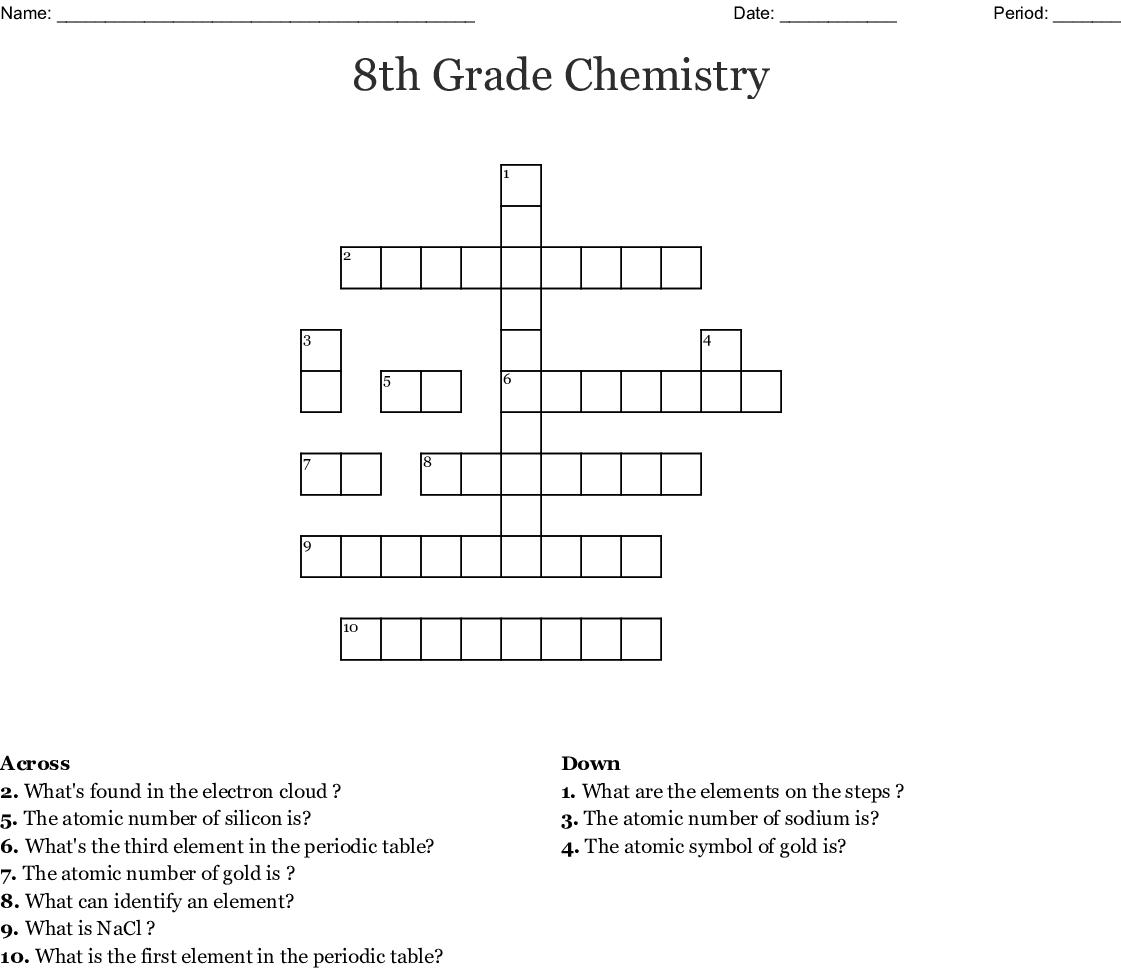 8th Grade Chemistry Crossword
