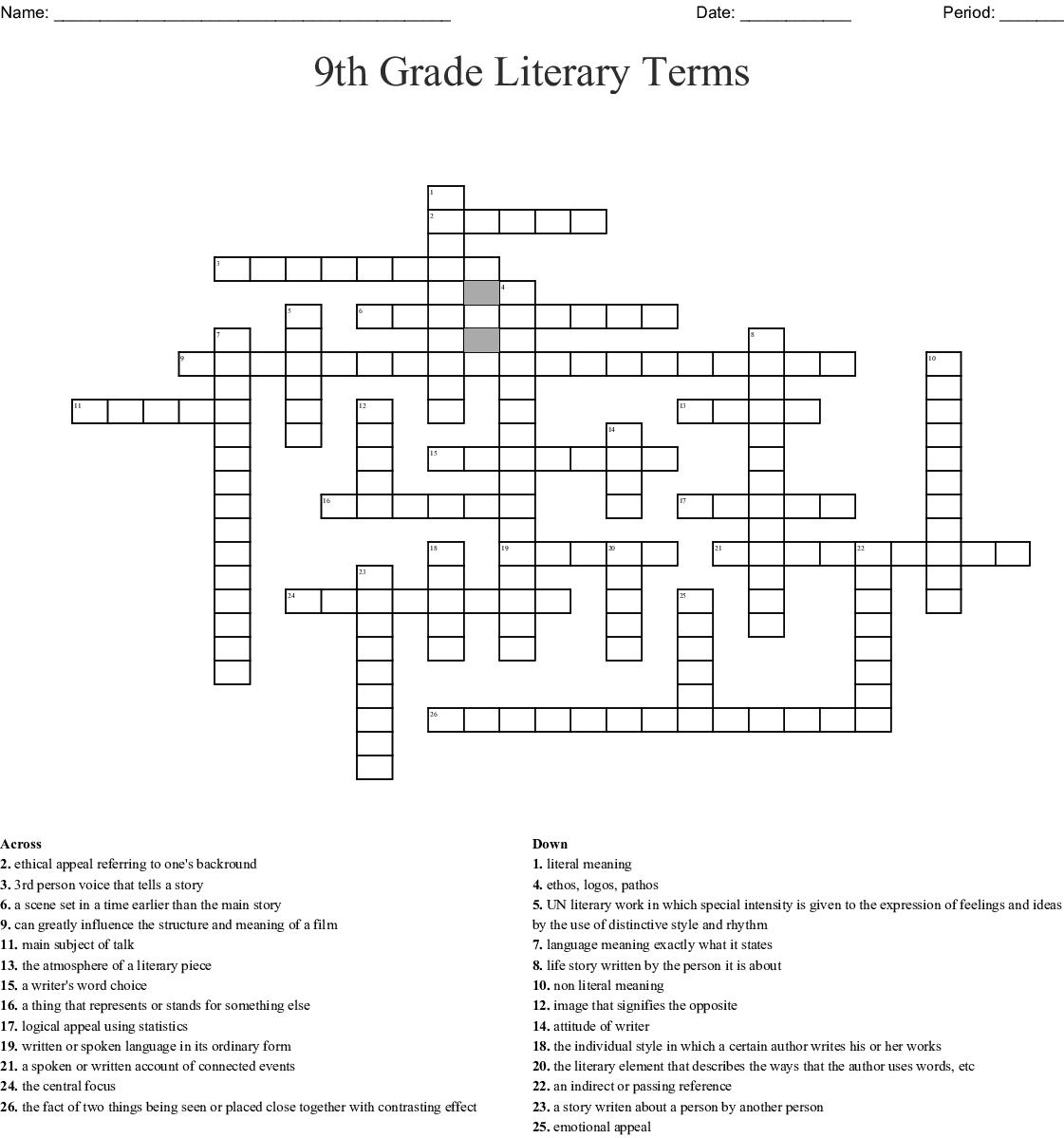 9th Grade Literary Terms Crossword