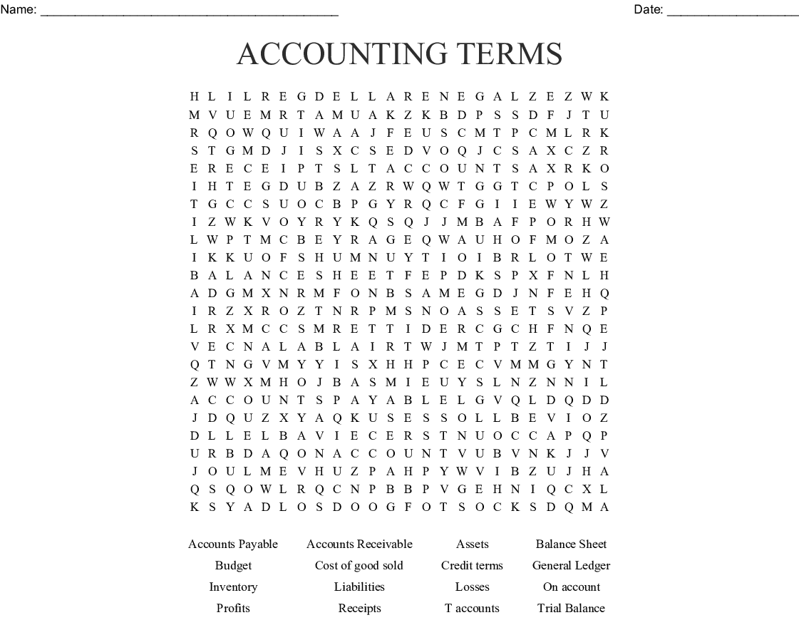 Accounting Amp Auditing Crosswords Word Searches Bingo